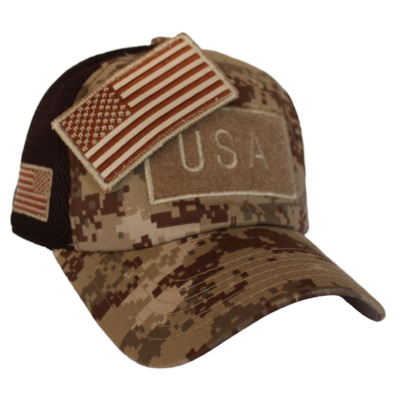 Desert Digital Camo American Flag Velcro Patch Hat
